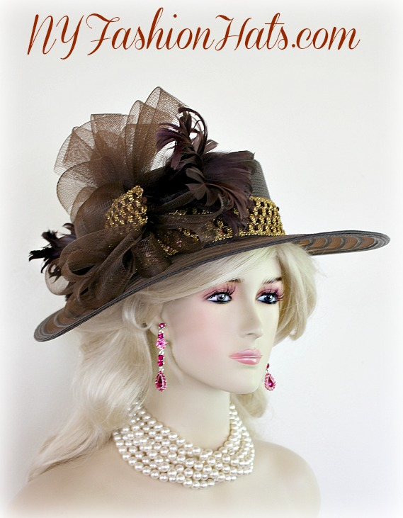 04d6d8395c4 Women s Brown Gold Designer Church Wedding Dress Hat NY Fashion Hats